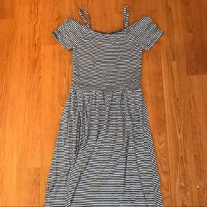 American Tag Striped Smocked Maxi Dress